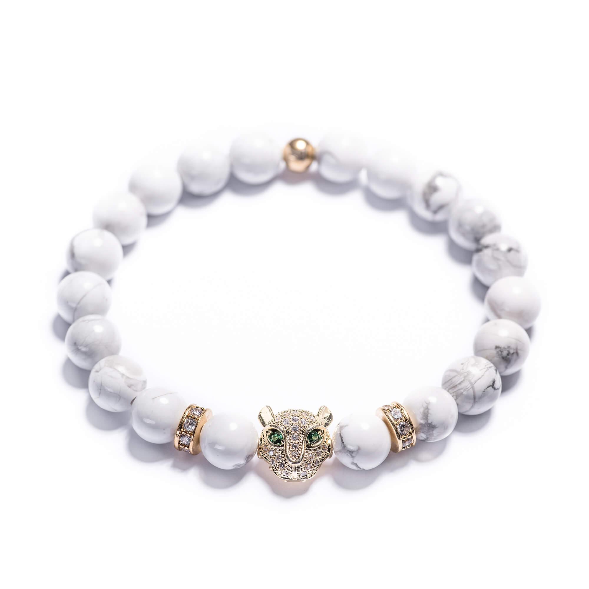 927e73790 Dámsky korálikový náramok – biely howlit, leopard, stopery   Lavaliere