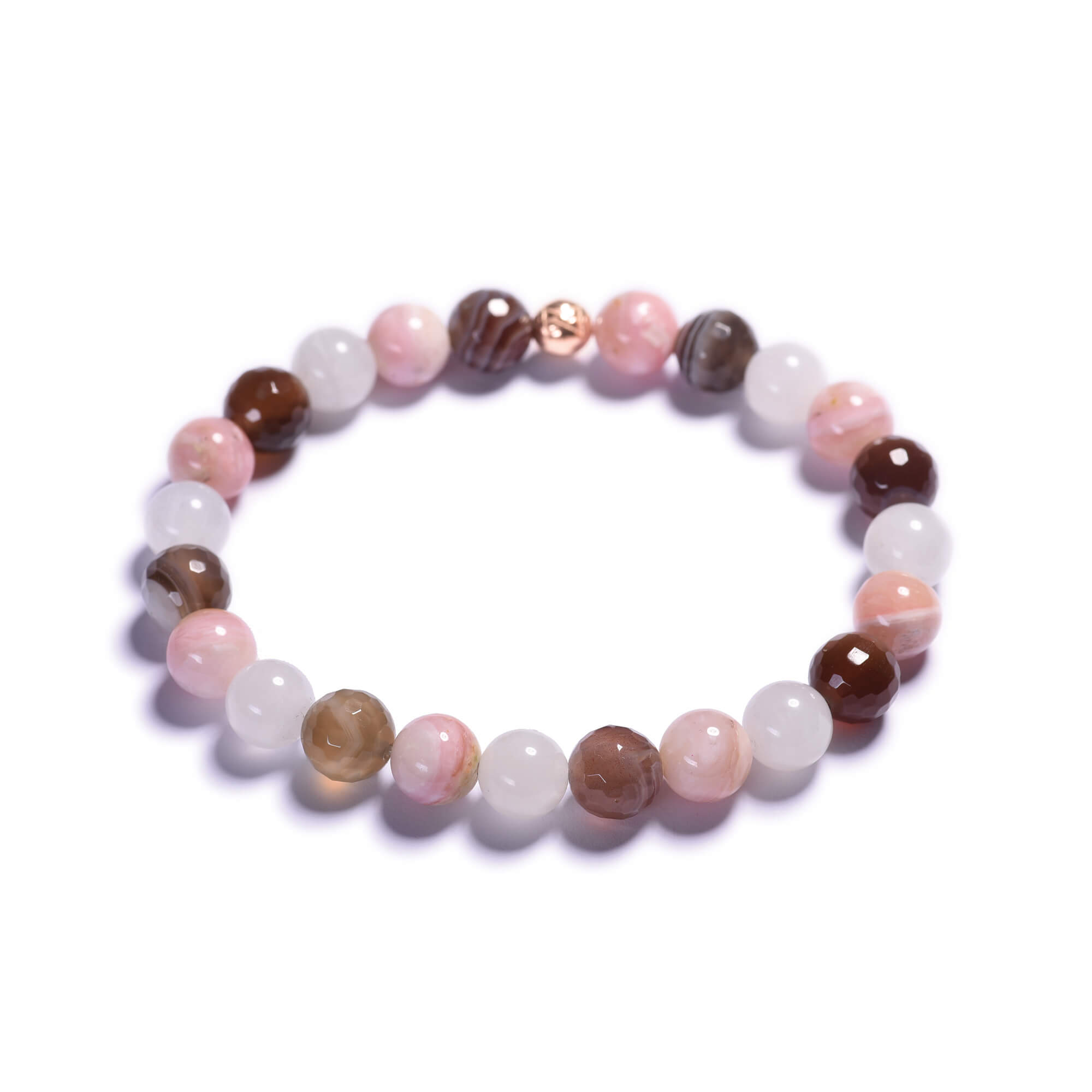 58cbb839cfb79 Dámsky korálikový náramok – mesačný kameň AA, ružový opál ...