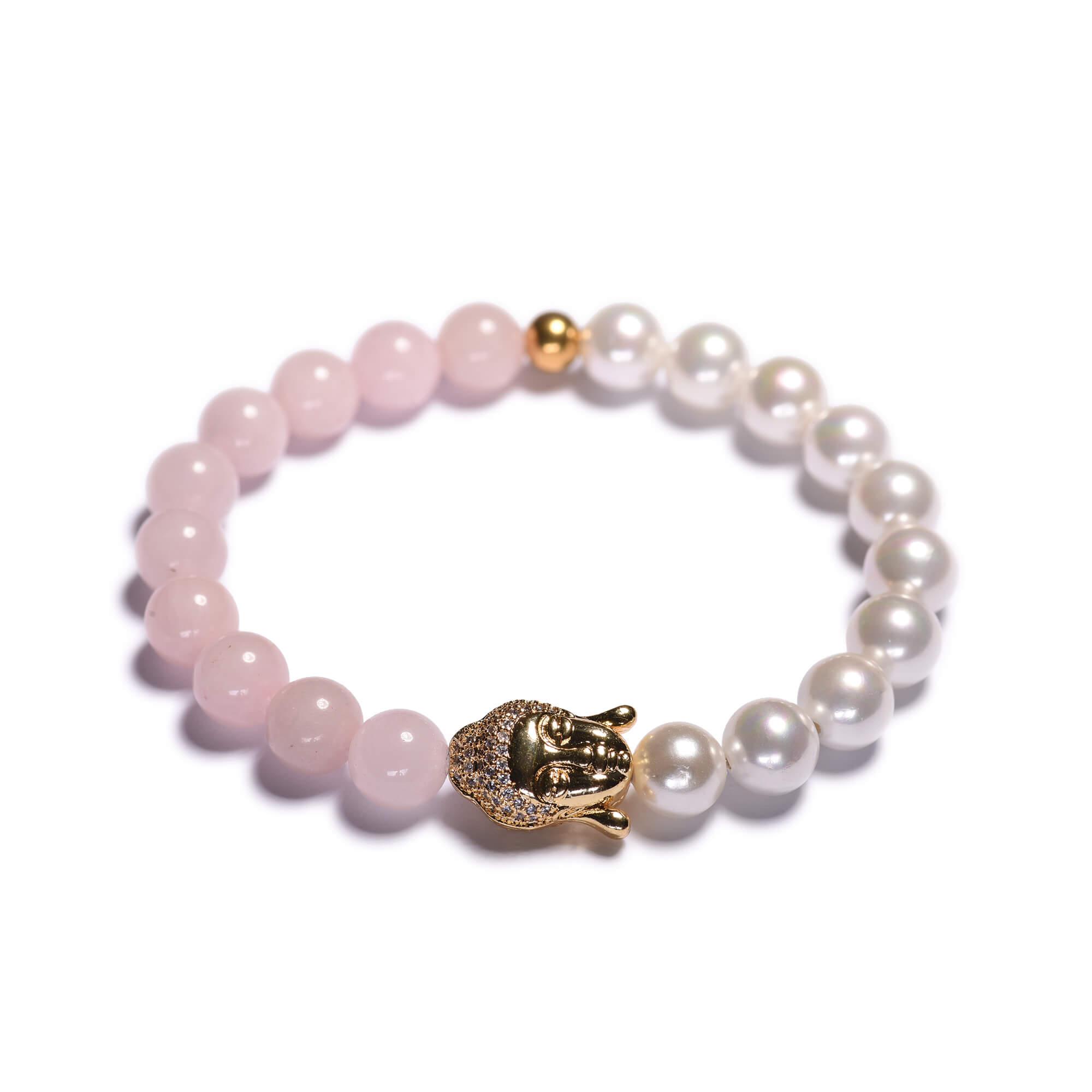 430711f13 Dámsky korálikový náramok – ruženín a biele shell perly, budha ...