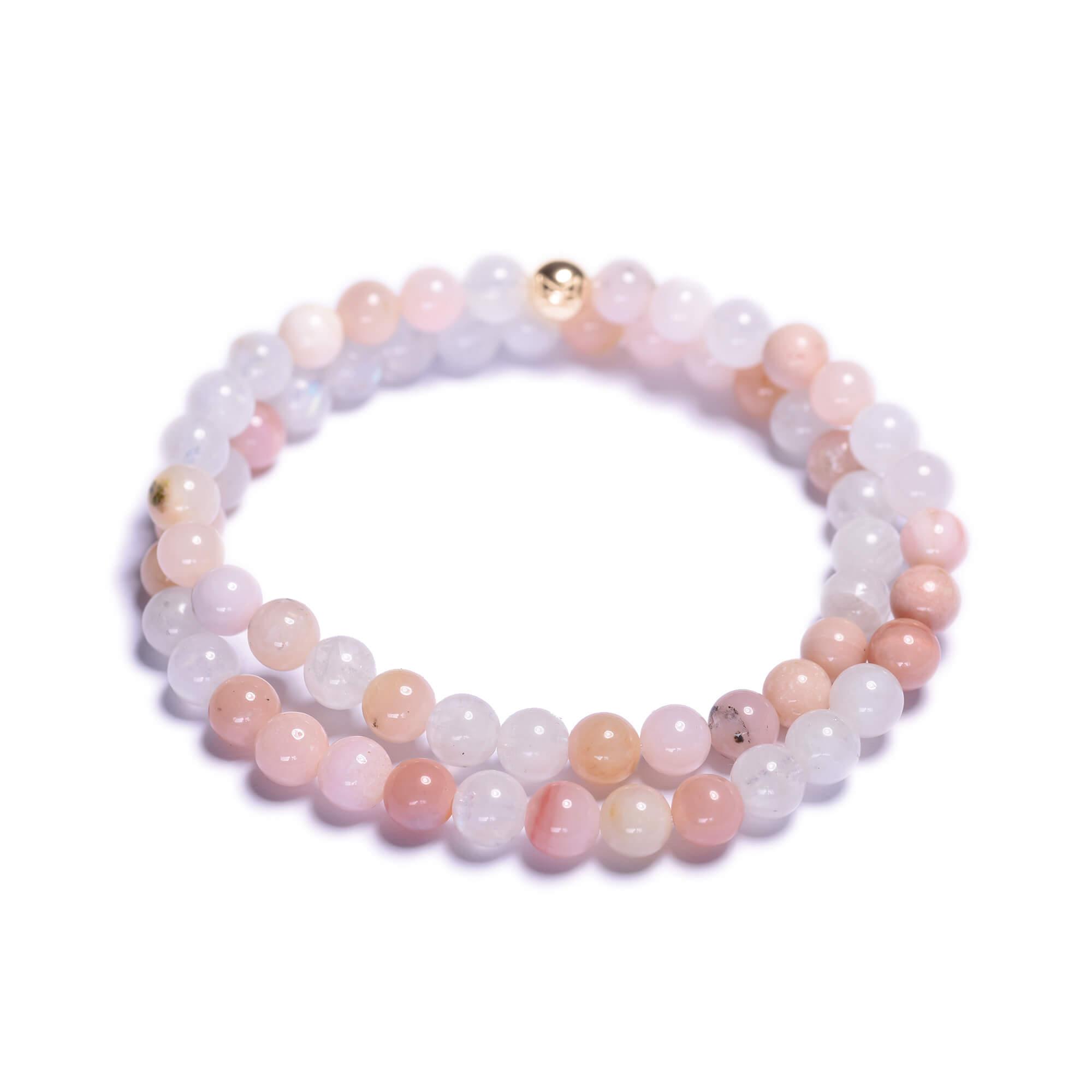 39f2e7ff0a499 Dámsky korálikový wrap náramok – mesačný kameň AA, ružový opál ...