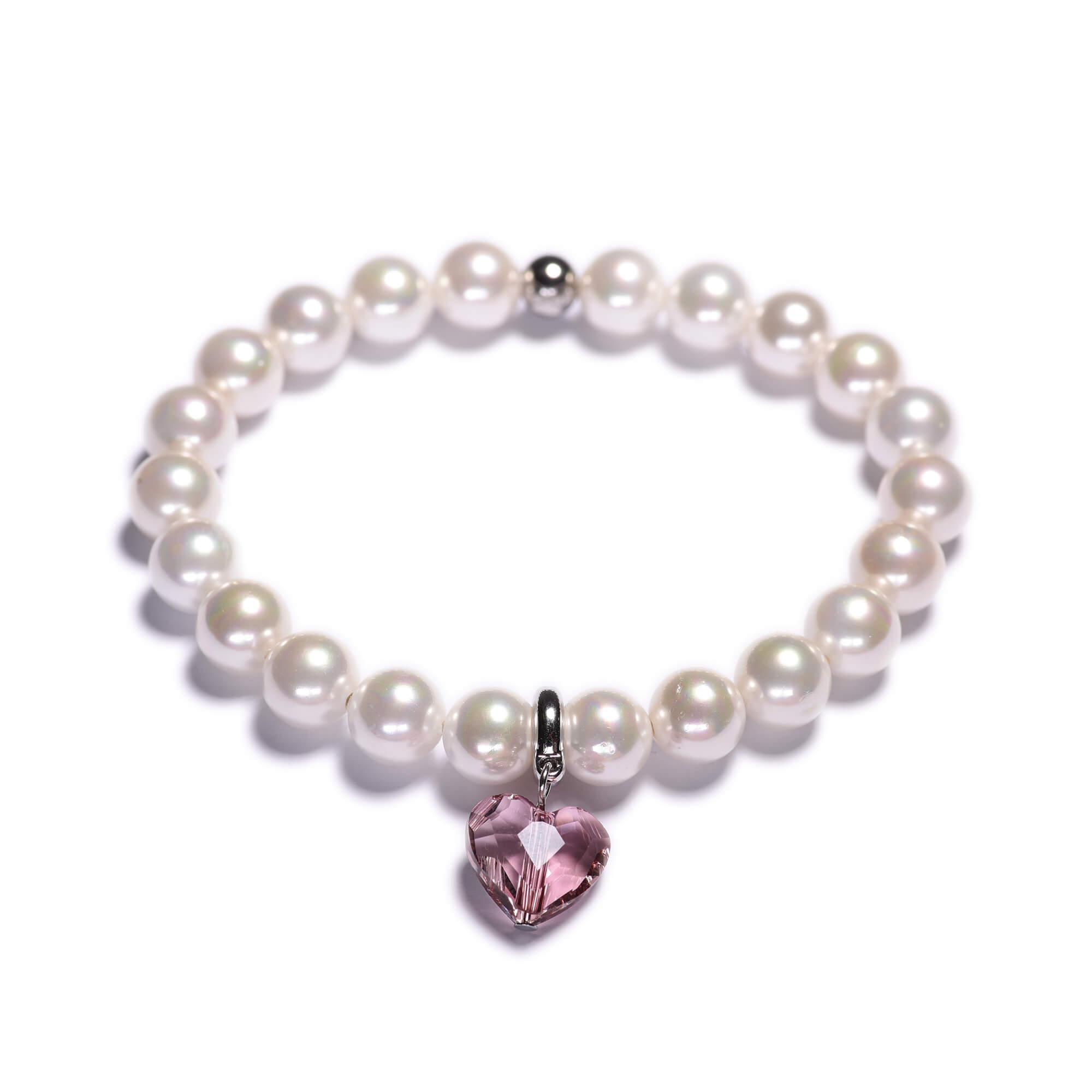 a1db92931 Dámsky perlový náramok – biele shell perly, Swarovského prívesok v tvare  srdca