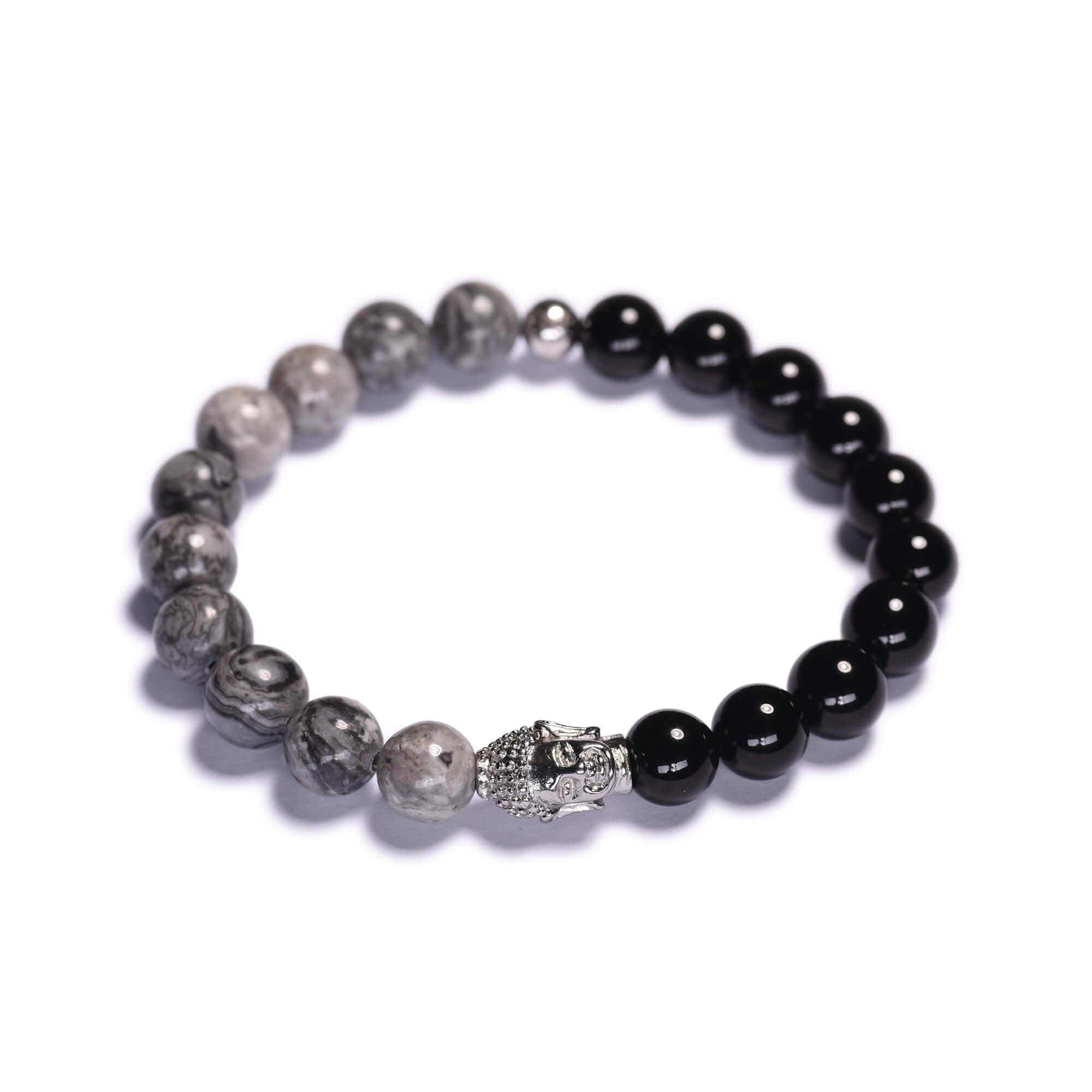 f35eb8d24 Pánsky korálikový náramok – čierny lesklý achát, šedý jaspis picasso, budha