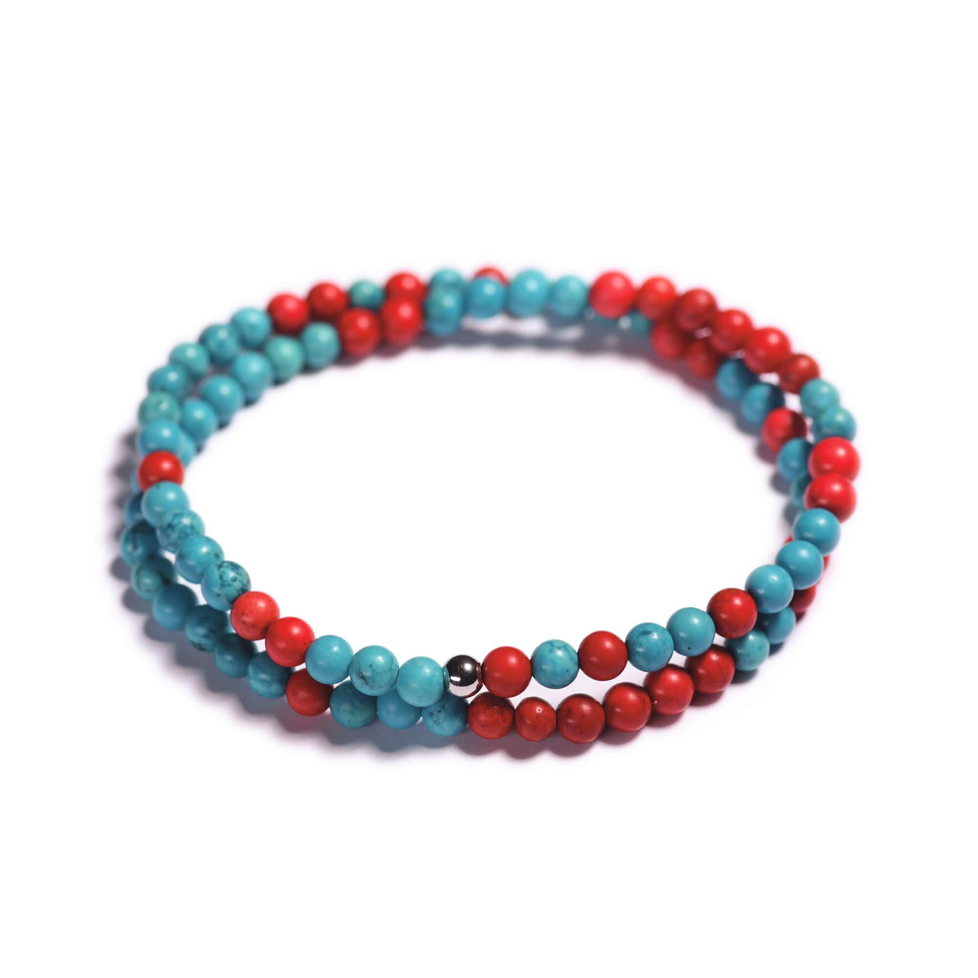 088e89559 Pánsky korálikový wrap náramok – modrý a červený tyrkys | Lavaliere
