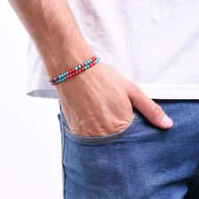 Pansky-koralkovy-wrap-naramek-modry-a-cerveny-tyrkys-bile-zlato-ruka.JPG